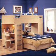 Quality kids loft bedroom furniture with builtin study center